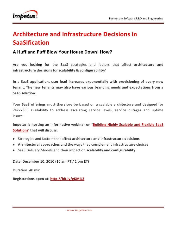 Architecture and infrastructure decisions in SaaSification