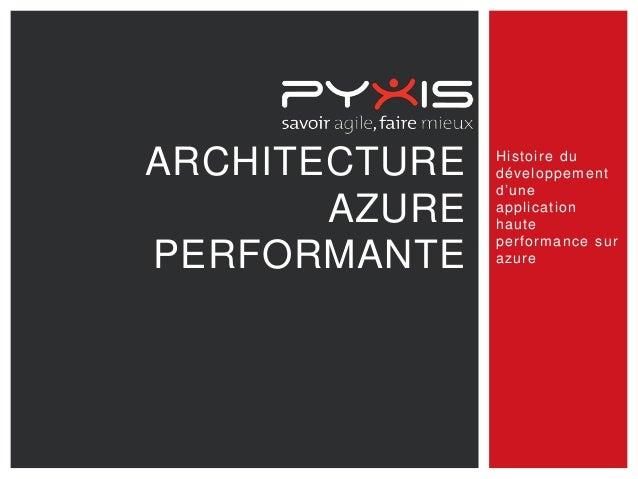ARCHITECTURE AZURE PERFORMANTE Histoire du développement d'une application haute performance sur azure