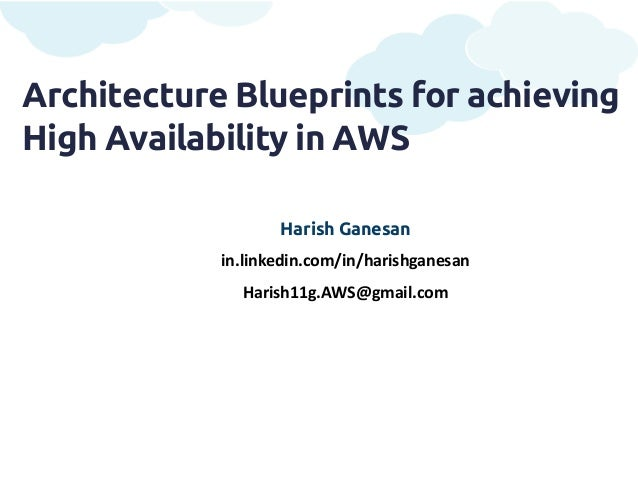 Architecture Blueprints for achievingHigh Availability in AWS                   Harish Ganesan            in.linkedin.com/...