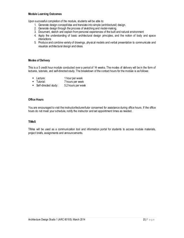 architectural design studio 1. Architecture Design Studio 1  design studio arc 60105 module outline march 2014