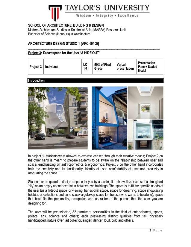 1  P a g e SCHOOL OF ARCHITECTURE BUILDING DESIGN Modern Architecture Studies in Southeast design studio project 3 brief march 2015