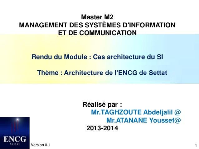 1 Master M2 MANAGEMENT DES SYSTÈMES D'INFORMATION ET DE COMMUNICATION Rendu du Module : Cas architecture du SI Thème : Arc...