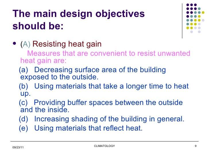 Climate Of Mumbai; 9. The Main Design Objectives ...