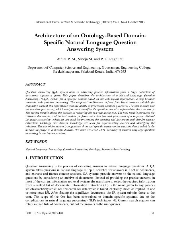 International Journal of Web & Semantic Technology (IJWesT) Vol.4, No.4, October 2013  Architecture of an Ontology-Based D...