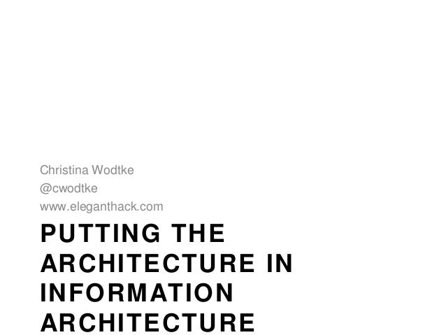 Christina Wodtke@cwodtkewww.eleganthack.comPUTTING THEARCHITECTURE ININFORMATIONARCHITECTURE