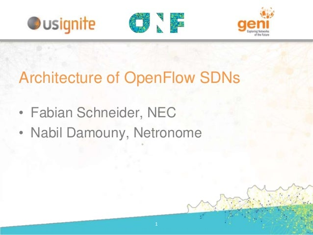 • Fabian Schneider, NEC • Nabil Damouny, Netronome 1 Architecture of OpenFlow SDNs