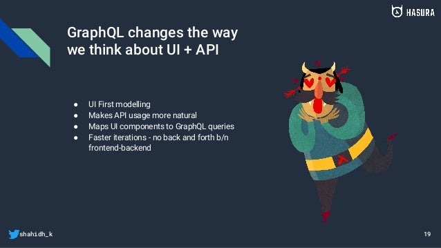 shahidh_k GraphQL changes the way we think about UI + API ● UI First modelling ● Makes API usage more natural ● Maps UI co...