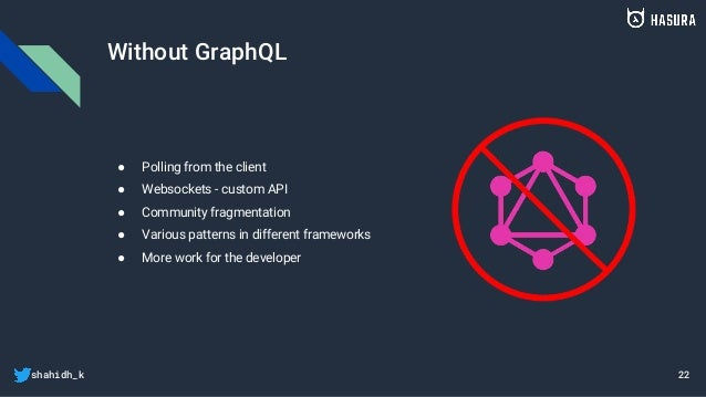 shahidh_k Without GraphQL ● Polling from the client ● Websockets - custom API ● Community fragmentation ● Various patterns...