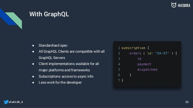 shahidh_k With GraphQL ● Standardised spec ● All GraphQL Clients are compatible with all GraphQL Servers ● Client implemen...