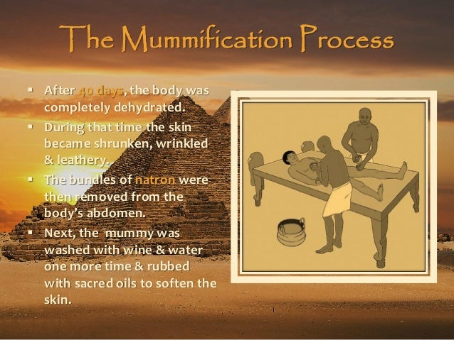 a report on the egyptian process of mummification Students create a mummy using the mummification process in this mummy lesson,  page report, and create a  of the egyptian funerary process for this egyptian.