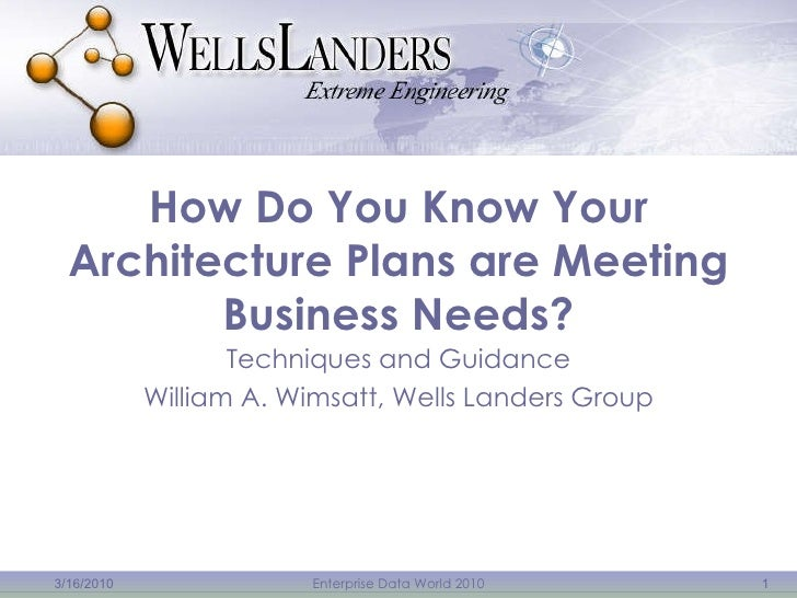 How Do You Know Your Architecture Plans are Meeting Business Needs? Techniques and Guidance William A. Wimsatt, Wells Land...