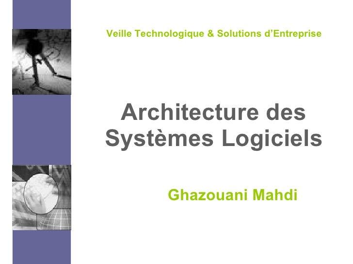 Architecture des Systèmes Logiciels Ghazouani Mahdi Veille Technologique & Solutions d'Entreprise