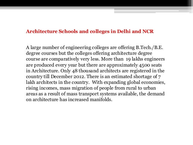 Architecture Schools and colleges in Delhi and NCR A large number of engineering colleges are offering B.Tech./B.E. degree...