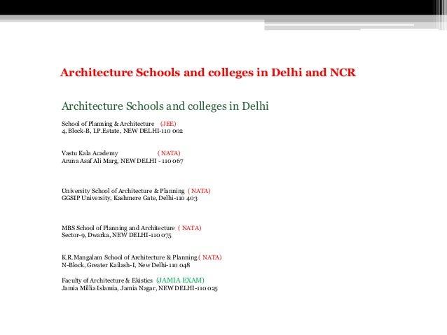 Architecture Schools and colleges in Delhi School of Planning & Architecture (JEE) 4, Block-B, I.P.Estate, NEW DELHI-110 0...