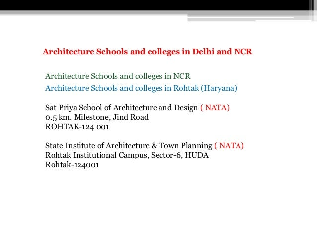 Architecture Schools and colleges in Rohtak (Haryana) Sat Priya School of Architecture and Design ( NATA) 0.5 km. Mileston...