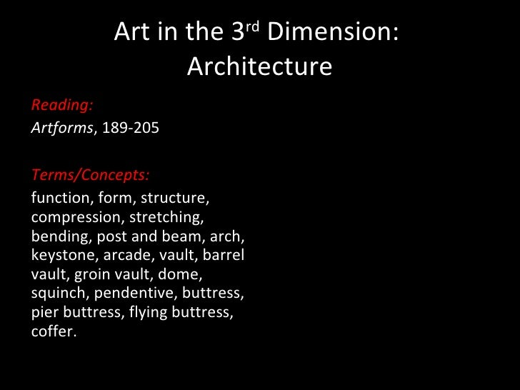 Art in the 3 rd  Dimension:  Architecture <ul><li>Reading: </li></ul><ul><li>Artforms , 189-205 </li></ul><ul><li>Terms/Co...