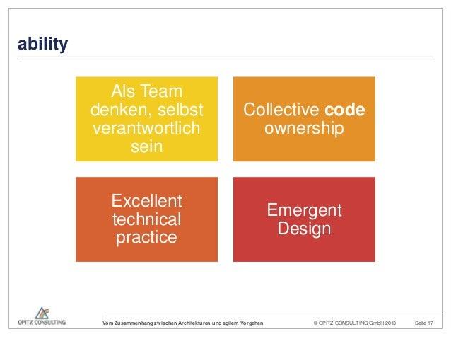© OPITZ CONSULTING GmbH 2013 Seite 17Vom Zusammenhang zwischen Architekturen und agilem VorgehenabilityAls Teamdenken, sel...