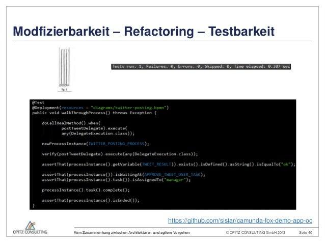 © OPITZ CONSULTING GmbH 2013 Seite 40Vom Zusammenhang zwischen Architekturen und agilem VorgehenModfizierbarkeit – Refacto...