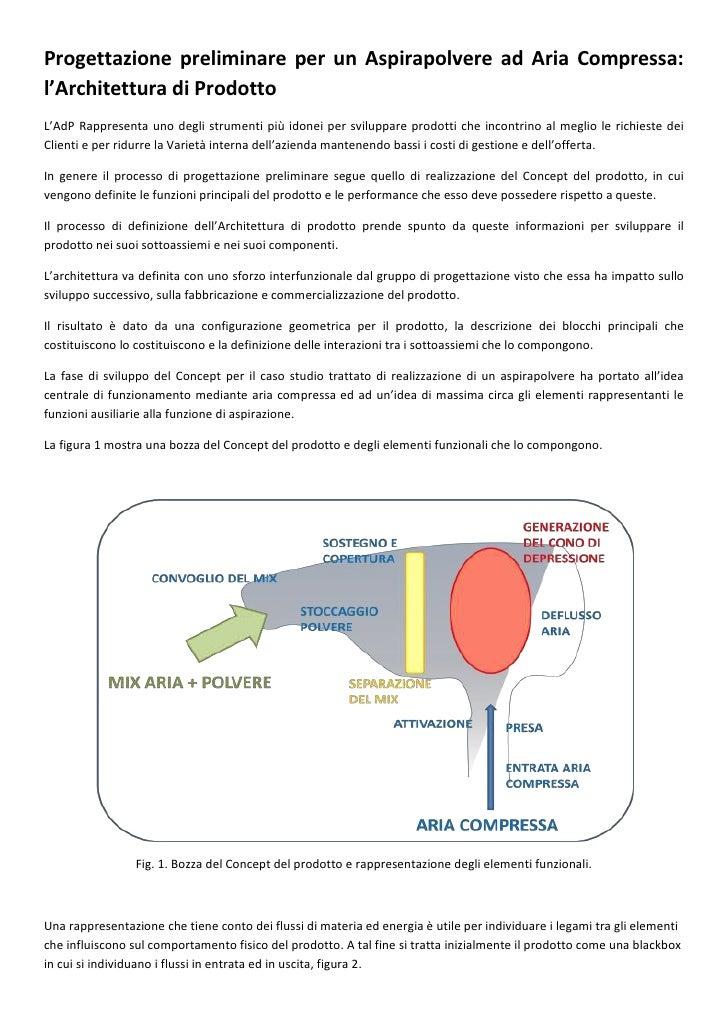 Progettazione preliminare per un Aspirapolvere ad Aria Compressa: l'Architettura di Prodotto L'AdP Rappresenta uno degli s...