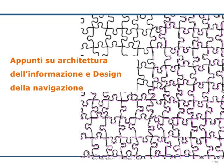 Appunti su architettura dell'informazione e Design della navigazione