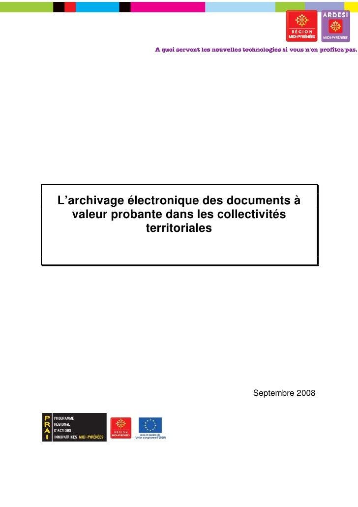 L'archivage électronique des documents à   valeur probante dans les collectivités               territoriales             ...