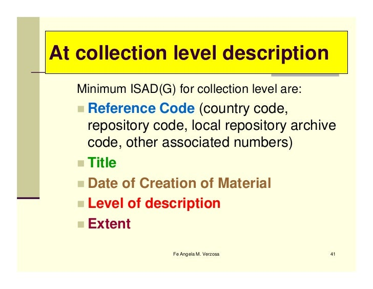 Archival cataloging using ISAD-G