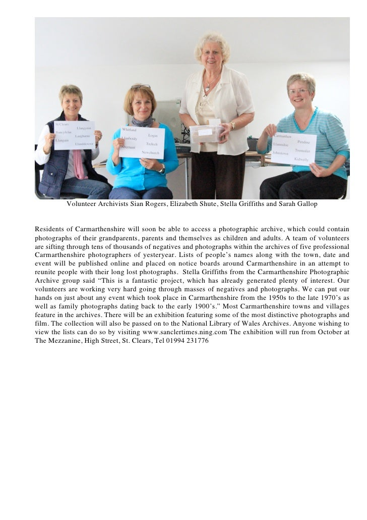 Volunteer Archivists Sian Rogers, Elizabeth Shute, Stella Griffiths and Sarah GallopResidents of Carmarthenshire will soon...