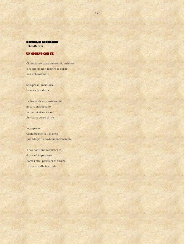 12 Michelle Lombardo ITALIAN 307 Un giorno con te Ci moviamo costantemente, insieme Il rapporto non mostra le corde mai ab...