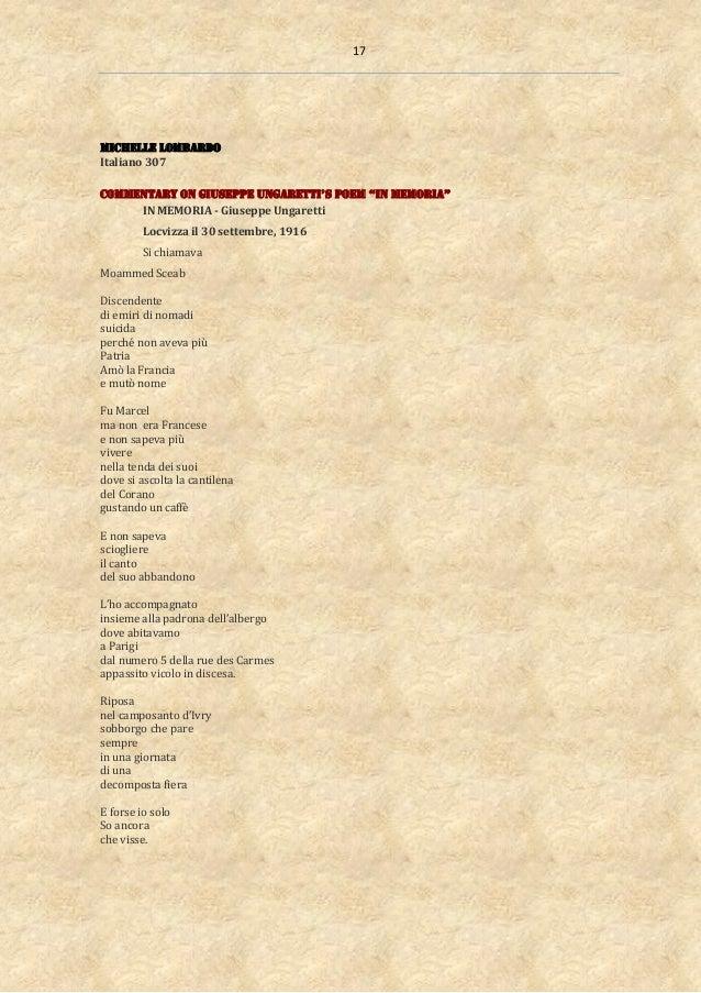 """17 Michelle Lombardo Italiano 307 CommEntAry on GIusEppE unGArEttI's poEm """"In mEmorIA"""" IN MEMORIA - Giuseppe Ungaretti Loc..."""