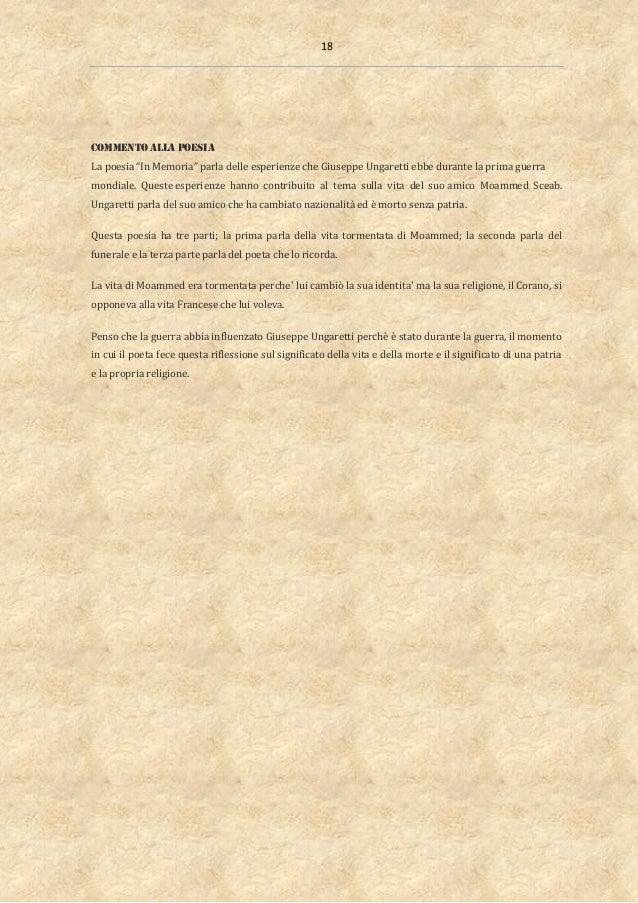 """18 COMMENTO ALLA POESIA La poesia """"In Memoria"""" parla delle esperienze che Giuseppe Ungaretti ebbe durante la prima guerra ..."""