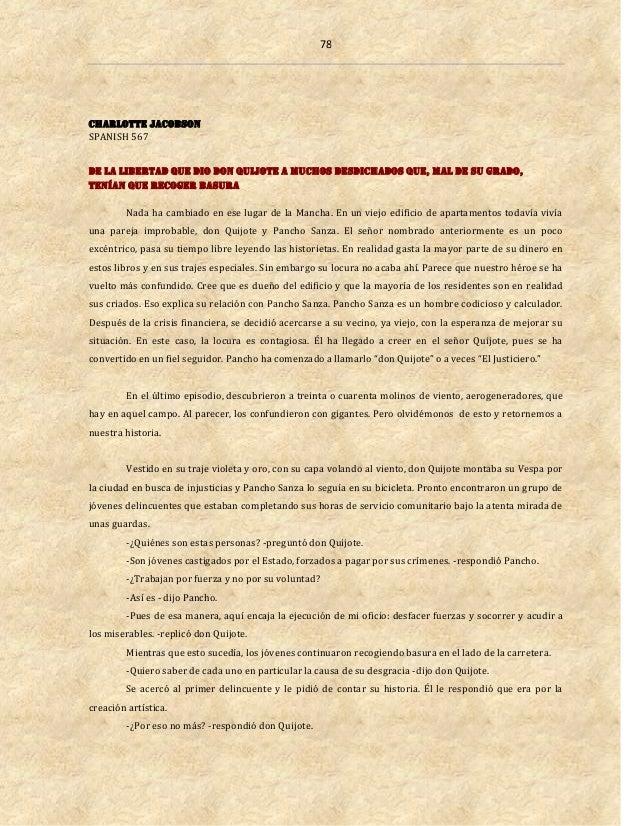 78 Charlotte Jacobson SPANISH 567 De la libertad que dio don Quijote a muchos desdichados que, mal de su grado, tenían que...