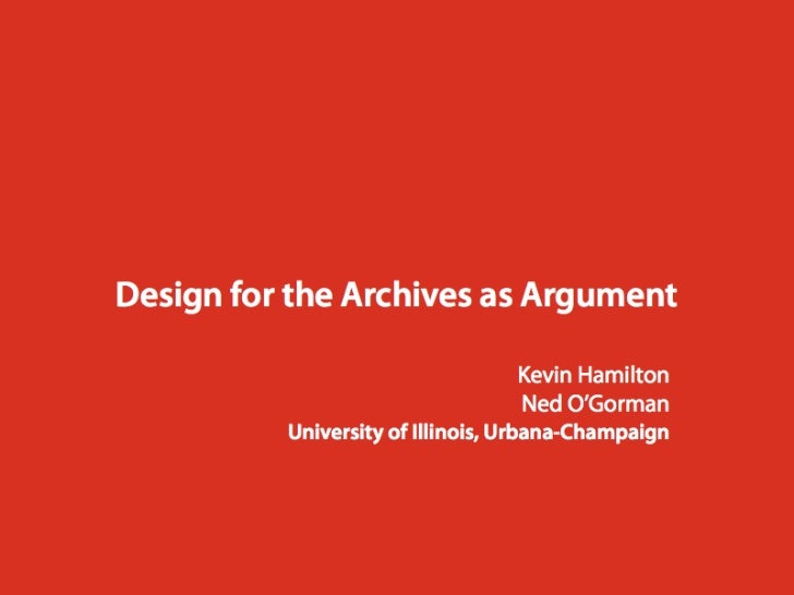 Design for the archives as argument