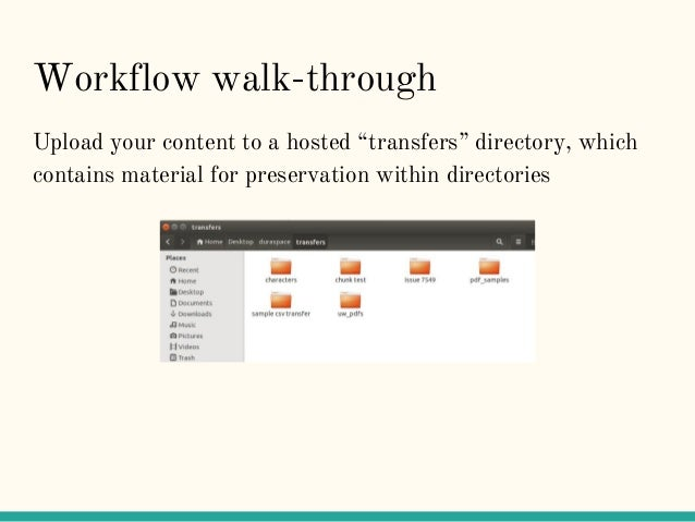 """Workflow walk-through Upload your content to a hosted """"transfers"""" directory, which contains material for preservation with..."""
