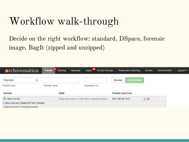 Workflow walk-through Decide on the right workflow: standard, DSpace, forensic image, BagIt (zipped and unzipped)