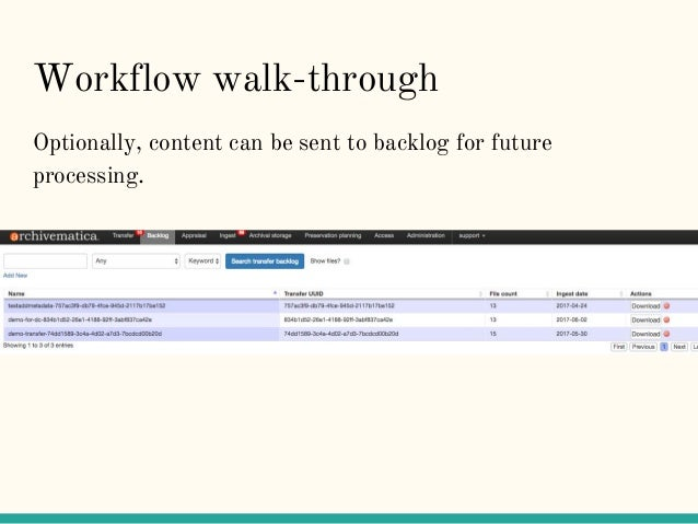 Workflow walk-through Optionally, content can be sent to backlog for future processing.