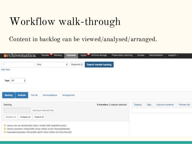Workflow walk-through Content in backlog can be viewed/analysed/arranged.