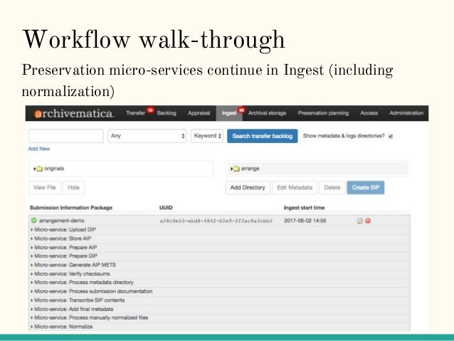 Workflow walk-through Preservation micro-services continue in Ingest (including normalization)