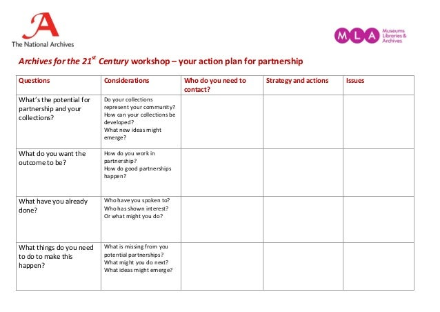 Archives for the 21st Century workshop – your action plan for partnership Questions Considerations Who do you need to cont...