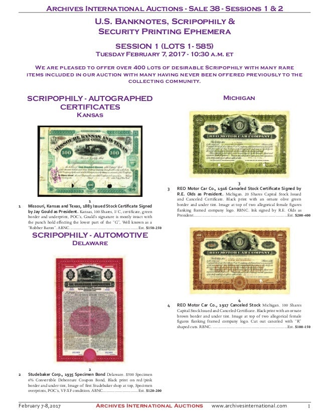 Archives International Auctions Sale 38 Banknote Auction