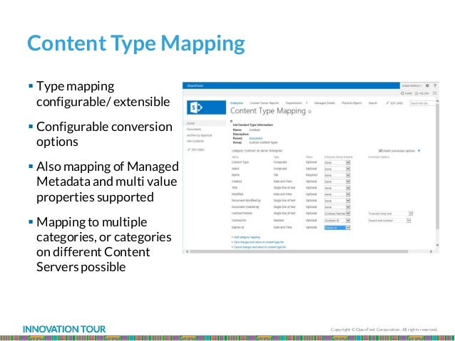 Copyright © OpenText Corporation. All rights reserved. Content Type Mapping  Type mapping configurable/ extensible  Conf...