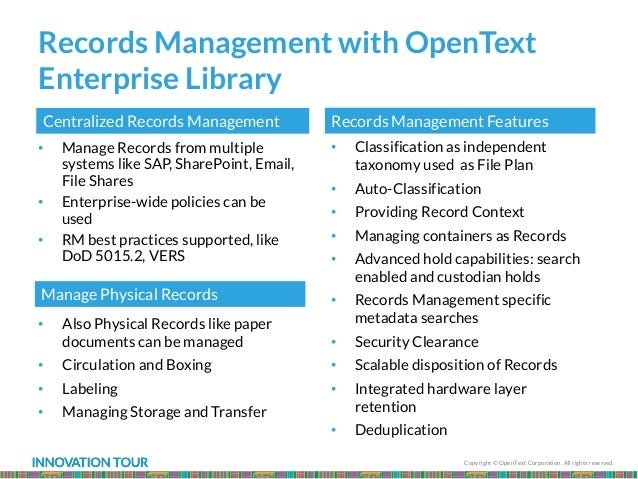 Copyright © OpenText Corporation. All rights reserved. Records Management with OpenText Enterprise Library • Manage Record...