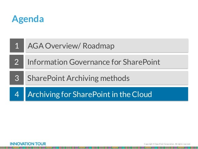 Copyright © OpenText Corporation. All rights reserved. Agenda Information Governance for SharePoint AGA Overview/ Roadmap1...