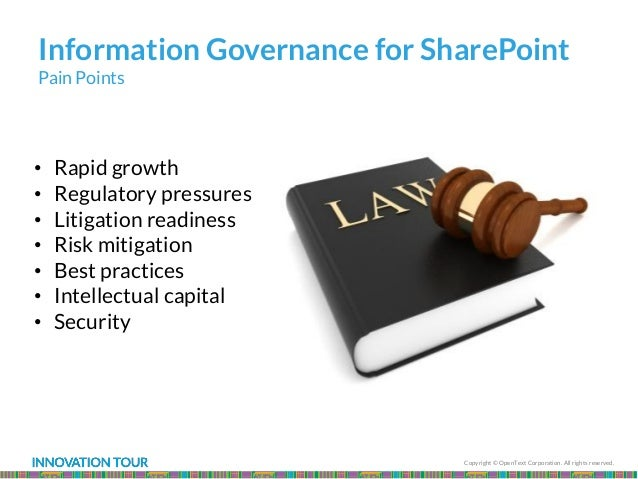 Copyright © OpenText Corporation. All rights reserved. Information Governance for SharePoint Pain Points • Rapid growth • ...