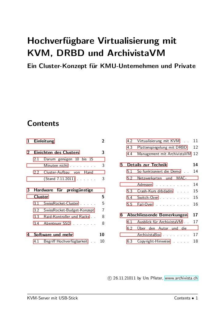 Hochverf¨gbare Virtualisierung mit        uKVM, DRBD und ArchivistaVMEin Cluster-Konzept f¨r KMU-Unternehmen und Private  ...