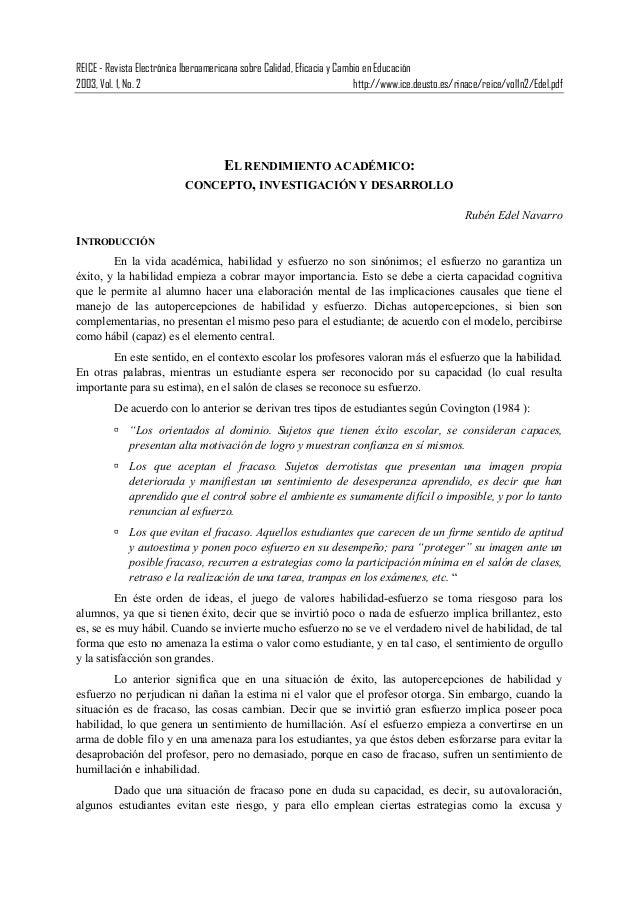 REICE - Revista Electrónica Iberoamericana sobre Calidad, Eficacia y Cambio en Educación 2003, Vol. 1, No. 2 http://www.ic...