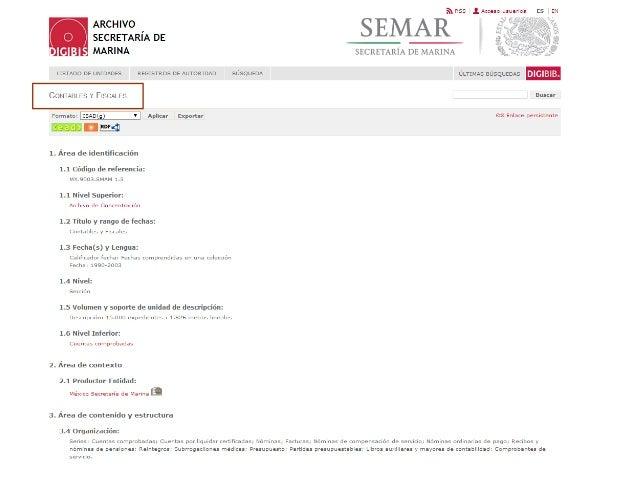 Descripción de la serie Cuentas comprobadas, con indicación del nivel superior y nivel inferior.