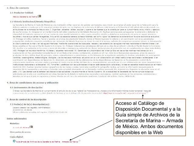 Acceso al Catálogo de Disposición Documental y a la Guía simple de Archivos de la Secretaría de Marina – Armada de México....