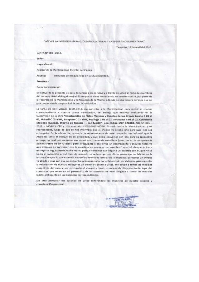 DENUNCIA A EX ALCALDESA DE SHAPAJA