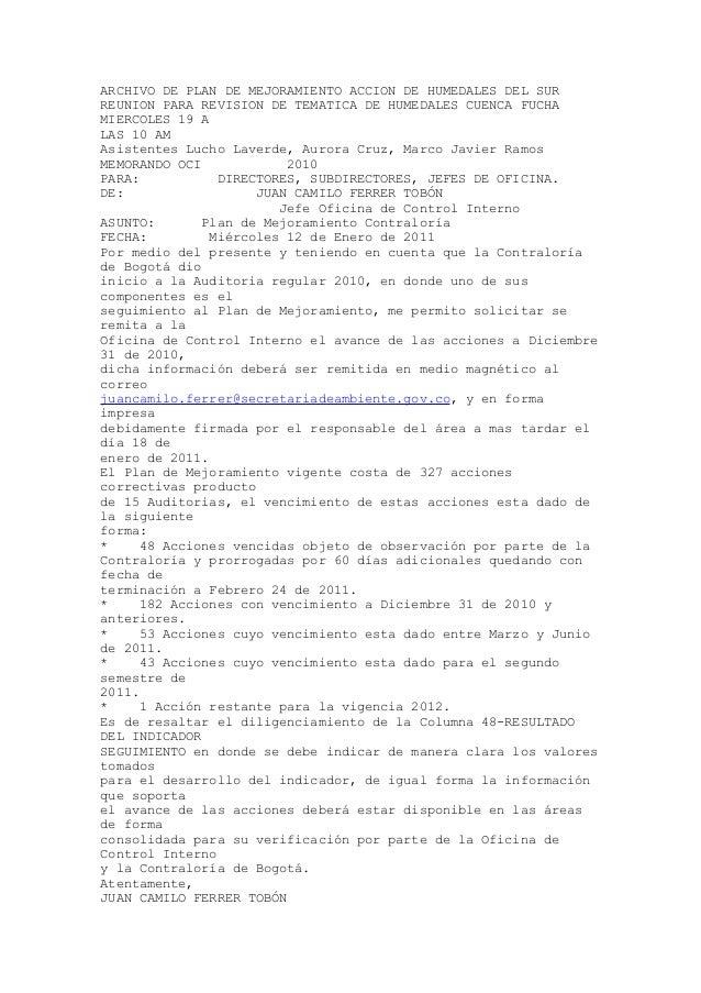 ARCHIVO DE PLAN DE MEJORAMIENTO ACCION DE HUMEDALES DEL SURREUNION PARA REVISION DE TEMATICA DE HUMEDALES CUENCA FUCHAMIER...
