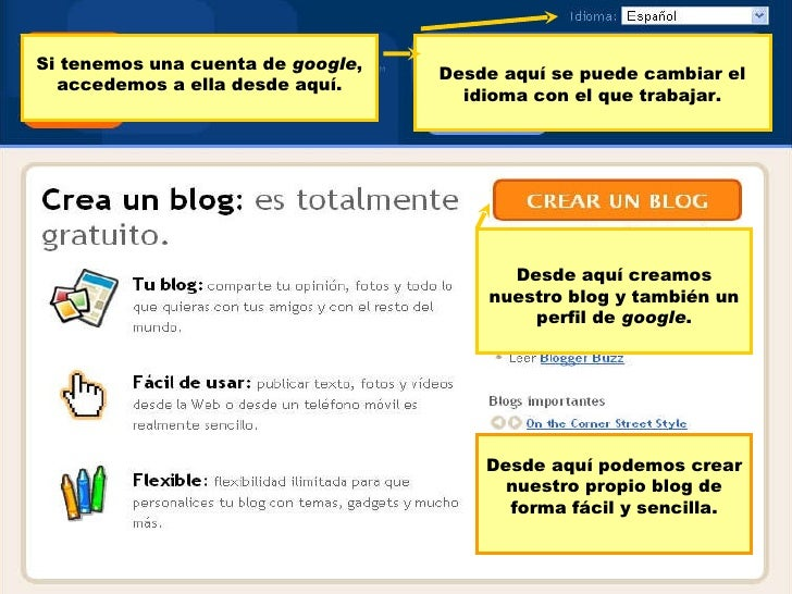 Esta es la p ágina inicial de Blogger. D esde aquí podemos crear nuestro propio blog de forma fácil y sencilla. Desde aquí...